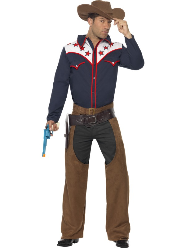 e oppblasbart cowboy og hest kostyme