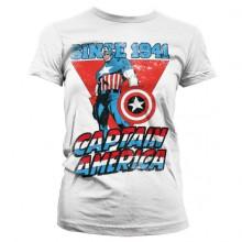 T-Skjorte Captain America Since 1941 Jente Hvit