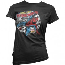 T-Skjorte Distressed Spider-Man Dame Sort