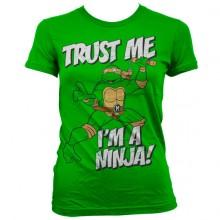 T-Skjorte TMNT - Trust Me, I´m A Ninja Dame Grønn
