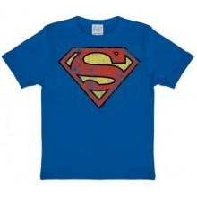 T-Skjorte Superman Logo Barn Blå