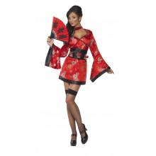Geisha Maskeraddräkt Röd