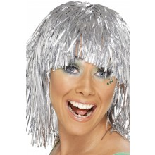 Glitterparykk Sølv