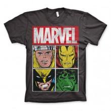 T-Skjorte Marvel Distressed Characters Mørkegrå