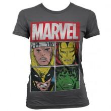 T-Skjorte Marvel Distressed Characters Dame Mørkegrå