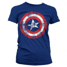 T-Skjorte Captain America Distressed Shield Jente Blå
