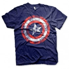 T-Skjorte Captain America Distressed Shield Blå