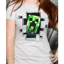 Minecraft Creeper Inside Dame T-skjorte