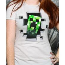 Minecraft Creeper Inside Dame T-skjorte