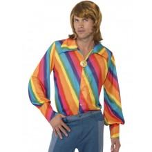 1970-talls regnbuefarget skjorte
