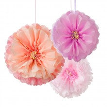 Pom Pom Blomster Hengende Dekorasjon 3-pakning