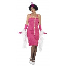 Flapper Lang Rosa Kostyme
