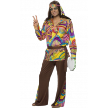 Psykedelisk Hippie Herre Kostyme