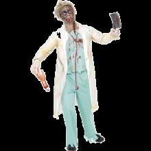Kostyme Zombie Doktor, Hvit og Grønn