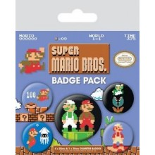 Super Mario Bros Buttons 5 Stk.
