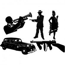 Gangster Silhuett 20-Tallet 5-Pakning