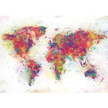 Verdenskart Plakat Fargesplæsj 100x140 cm