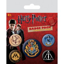 Harry Potter Badges 5-pakning Hogwarts
