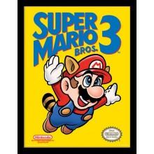 SUPER MARIO BROS. 3 (NES COVER) INNRAMMET PLAKAT