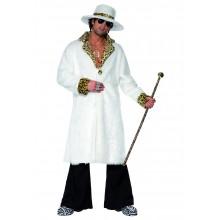 Hallik kostyme, hvit og leopard pels