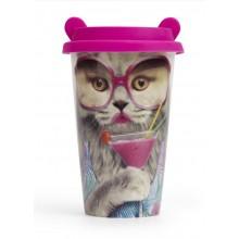 Reisekopp Katt med Store Brilleglass