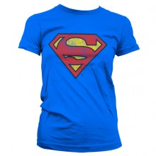 T-Skjorte Superman Washed Shield Dame (Blå)