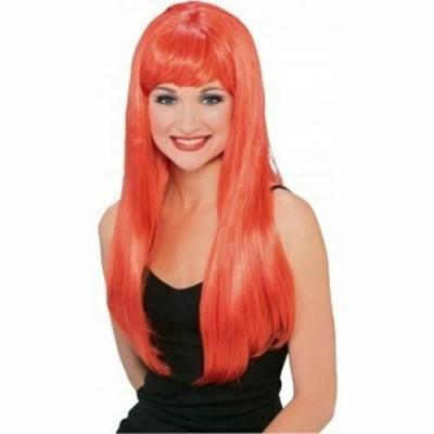 Röd peruk med lugg